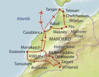 Landkarte SRS Studienreise Marokko 2020