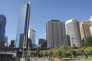 Blick auf Sydney von The Rocks