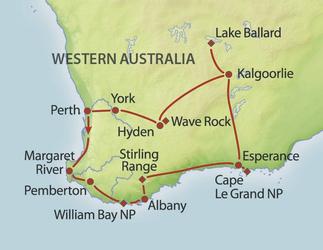 Landkarte Südwesten von Westaustralien